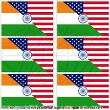 USA United States America-INDIA American & Indian Flag 40mm Stickers Decals x6