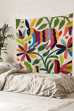 Otomi Embroidered Mexican Tapestry Colorful Rabbit Wall Hanging Tapestry Fabric