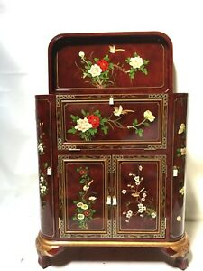 Oriental furniture Bar Cabinet Chinese burgundy red lacquer furniture