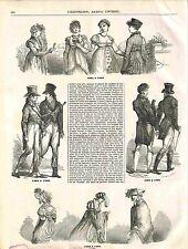 Histoire Mode Chapeau Veste Robes Habits Directoire Empire Napoléon GRAVURE 1848