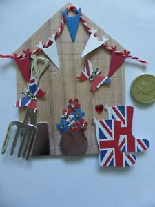 4 Large 3D  Gardening English Great British Shed handmade card toppers Birthday