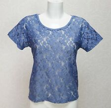H&M blue casual All Lace round neck short sleeve loose fit top blouse size 8 XS