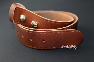 TAN BROWN REAL LEATHER BELT 38mm SNAP ON PRESSED STUD NO BUCKLE REPLACEMENT
