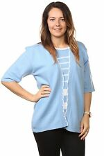 Ladies Womens Striped Twinset Knitted Cardigans Sweaters Jumpers Tops Plus Sizes UK Size 20/22 Sky Blue/ White Stripe 95 Acrylic & 5 Elastane