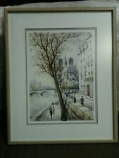 """Lovely French Ducollet""""Strolling the Banks of the Seine""""Framed Lithograph,Signed"""