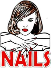 "WINDOW STATE CLING NAILS FEMALE IMAGE 25"" WIDE X 36"" HIGH SALONS SPAS MALL SHOPS"