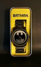 DC Comics Batman Logo Watch Large Face Metal Band ~BRAND NEW IN COLLECTOR'S TIN!