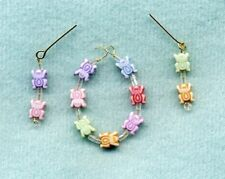 Barbie Doll Jewelry - Necklace & Earrings - Small Pastel Baby Bees W/ White Ice