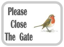 Please Close The Gate Robin Design Metal Door Sign
