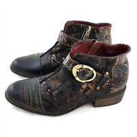 L'Artiste By Spring Step Georgiana Bootie Black Multi Leather Womens 37 6.5 to 7