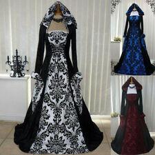 Renaissance Vintage Gothic Kleid bodenlangen Frauen Maxi Cosplay Retro Kleider