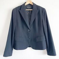 LAFAYETTE 148 New York Size 10 Black Blazer 2 Button Fitted Work Career WOOL