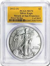 2012 (S) Silver Eagle MS 70 PCGS First Strike GOLD FOIL LABEL 1 of 2012 San Fran