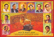 [153] Miniature Sheet Legendary Singers of India Cinema Music Film 2016 MNH