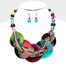 Dark Multi Colored Wrapped Acrylic FASHION Necklace Set