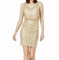 NEW Calvin Klein Womens Sequined Blouson Sheath Sleeveless Dress Size 4,6,14,16