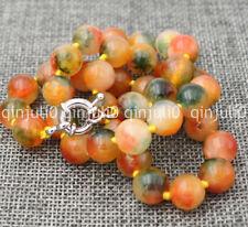 "Charming! India 10mm multicolor jade gemstone Round bead necklace 18"""