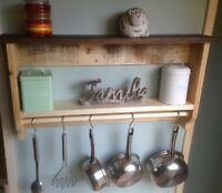 Pot/ Pan Rack Reclaimed Wood With Extra Shelf And Hooks