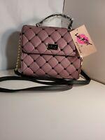 Luv Betsey Johnson Crossbody Poka  poka dot mauve  top handle handbag purse