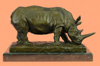 "14"" Lucky European Bronze Reptiles Bull Ox Rhino Rhinoceros Horn Statue Decor"