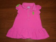 Ralph Lauren Polo hot pink dress with lime green horse logo girls 3m