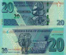 Zimbabwe 20 Dollars (2020) Balanced Rocks/Elephant/Waterfall, p-New UNC