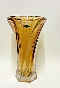"Vase 12 ""Crystal Glass Amber Bud Vase Home Decor Bohemia Crystal Flower Vase"