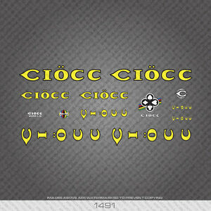 01491 Ciocc Bicycle Stickers - Decals - Transfers - Yellow With Black Keyline