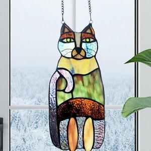 Cat Stained Glass Window Hanging Panel Suncatcher Lover Ornament Home Art Decor