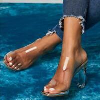 Womens Transparent High Block Heels Slippers Sandals Party Open Toe PVC Shoes sz