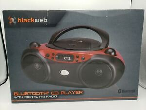 NEW Blackweb BWA17AA003 Bluetooth CD Player Boombox with FM Radio, Red and Black