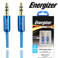 Energizer Aux Lead Audio Stereo Cable 3.5mm Male Jack to 3.5mm Male 1.5M Blue