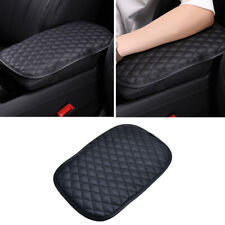 Car Armrest Pad Cover Center Console Box Cushion Mat Protector PU Leather Black