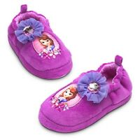 DISNEY STORE SOFIA FIRST SLIPPERS GIRLS SIZE 11/12 SOFT PLUSH UPPER & LINING NWT