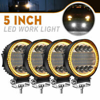 4x 5'' Inch 120W Round LED Work Light Spot Flood Driving Fog Amber Lamp Offroad