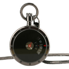 Modern Design Turntable Creative Dial Black Pendant Pocket Watch Men Women