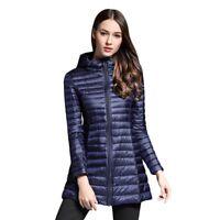 New Womens Ultralight Long Sleeve Down Hooded Jacket Puffer Parka Coat Down Coat