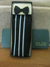 Vintage After Six Bowtie Cummerbund Nautical Navy Blue w/ Contrasting Pin Stripe