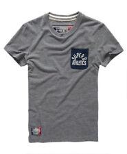 Camisetas de hombre grises Superdry de poliéster