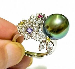 Cocktail Peacock Green 11mm Tahitian South Sea Oval Round Pearl Ring Size 7