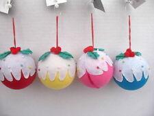Gisela Graham Natale Colorati In Tessuto Xmas Pudding Palla Decorazione x 4