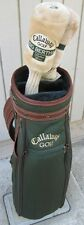 CALLAWAY GOLF BAG Two Clubs Socks Nylon Leather Green Brown BIG BERTHA Ladies