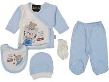 NEU Baby 5-tlg Neugeborenen Geschenk Set Erstling Unisex Blau Cat Friends Süß