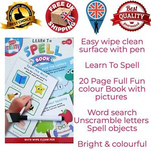 Educational Wipe Clean Books Learn to  Spell Worksheet Early Learning UK STOCK