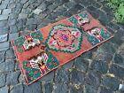 Bohemian rug, Vintage small rug, Handmade wool rug, Doormats   1,5 x 2,9 ft