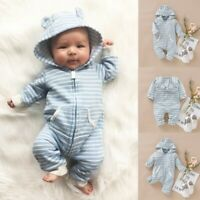 Infant Baby Toddler Boy Girl Hooded Striped Romper Jumpsuit Bodysuit Outfits Set
