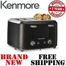 New KENMORE 4 Slice TOASTER Black Stainless Steel 6 Shade Bagel Toast Kitchen