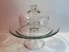 Kitchen Glass Pedestal with Dome, Serving Cake Cheese Pastry Dessert