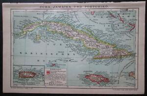 Antique map. CUBA. PUERTO RICO. JAMAICA etc. 1909