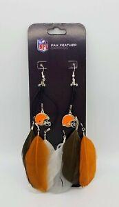 NFL Womens Dangle Fan Feather Earrings Pick Cowboys Lions Browns Saints Dolphins